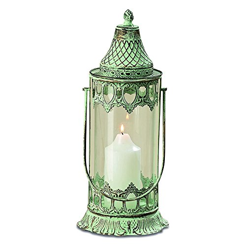 Whole House Worlds The Grand Tour Temple Lantern Hurricane, Distressed Bronze Metal, Green Vintage Patina, for LED or Wax Candles, 16 1/2 Inches (42 cm) Tall, from The Global Chic Collection