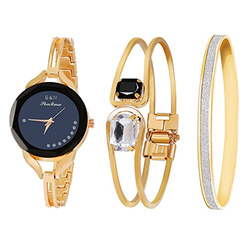 Gold Ladies Watch Band (Daimon Women's Wrist Watches with Rose Gold Band 3 Sets Match Any Outfits (Black))