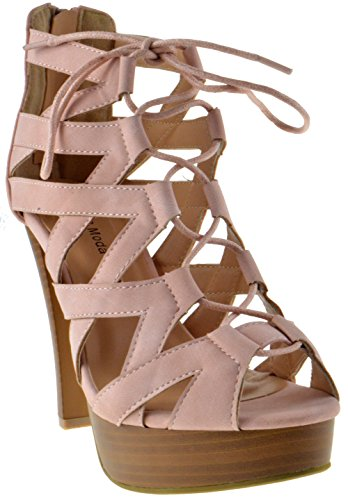 Table 8 Peep Toe High Heel Lace up Strappy Pumps Blush 9
