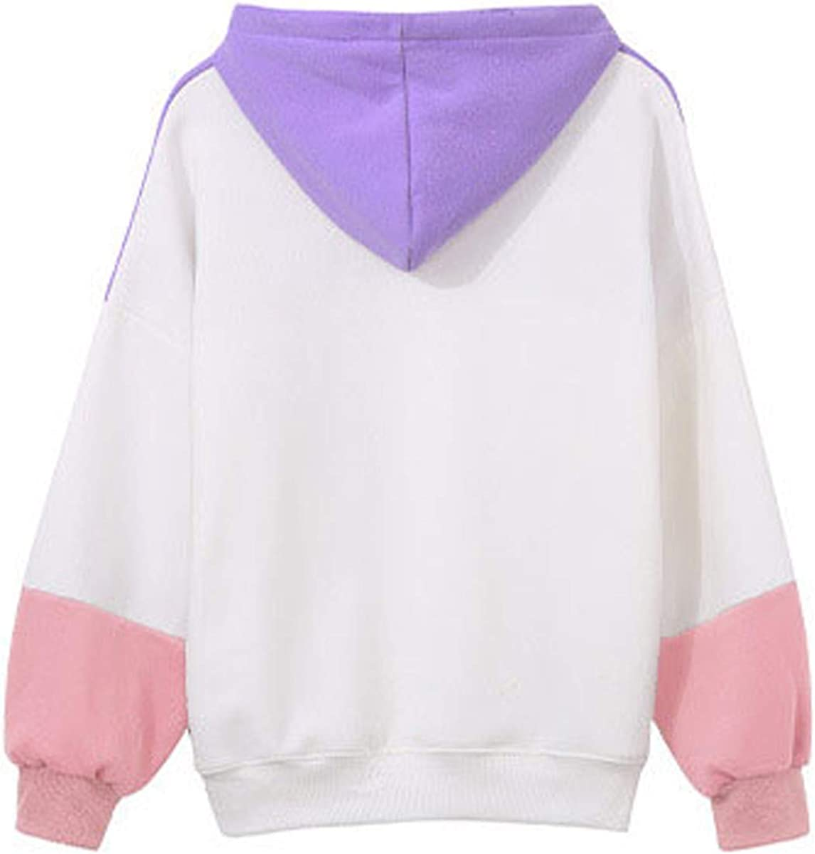 LUCAMORE Womens Casual Hoodie Tricolor Pacthwork Long Sleeve Sweatshirt Hooded Tops Blouse