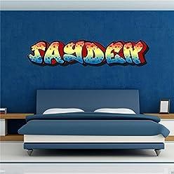 1 PERSONALISED GRAFFITI NAME WALL ART STICKER DECAL GIRLS BOYS BEDROOM transfer