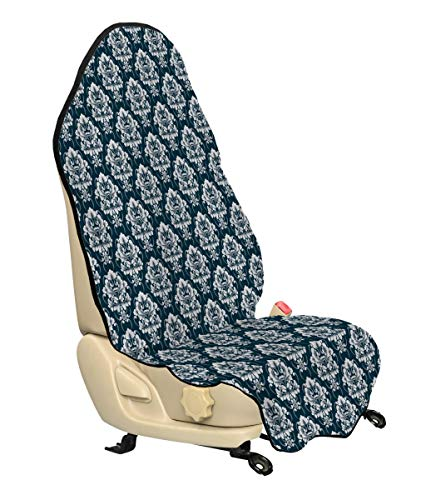 Lunarable Damask Car Seat Cover, Classical Victorian Floral Composition Swirls Curves Baroque Pattern, Car Truck Seat Cover Protector Nonslip Backing Universal Fit, Petrol Blue White