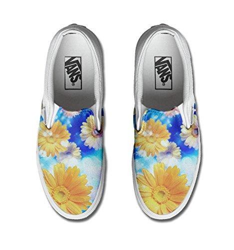 Unisex - Adulto Make Your Shoes vans con stampa artigianale personalizzata prodotto girasole tg