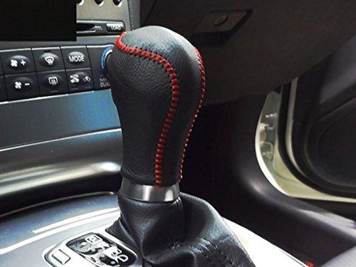 (Eppar New Protective Shift Knob Cover 1PC for Infiniti G37 Sedan 2008-2013 (Black-Red Line))