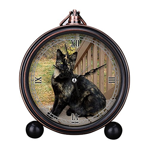 Vintage Retro Living Room Decorative Non-ticking, HD Glass Lens, Quartz, Analog Large Numerals Bedside Table Desk Alarm Clock Cute Cat Dog Series -518.tortie cat, ()