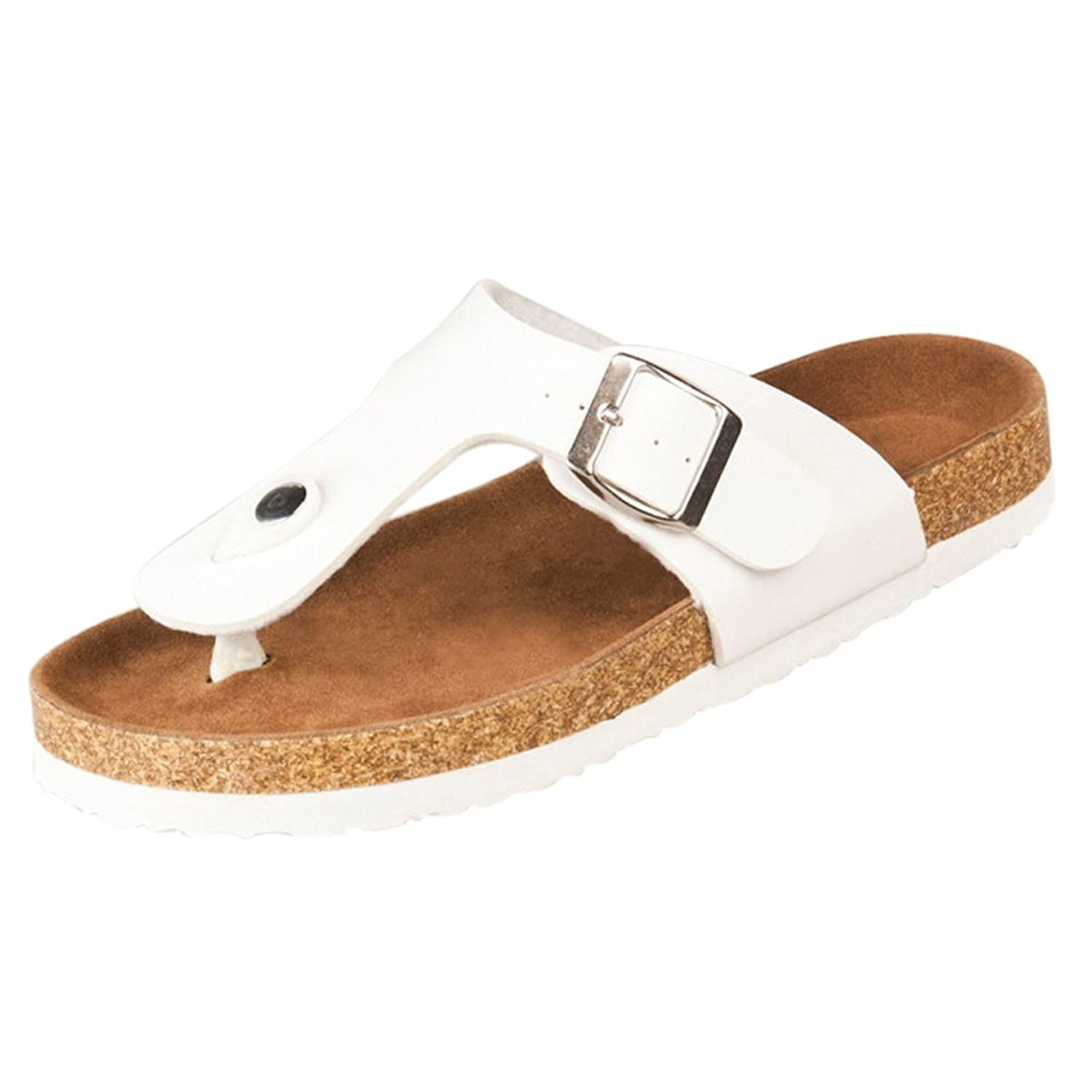 SODIAL(R)New cork flats sandals men and women summer flip flops unisex casual slippers shoes size 12 White