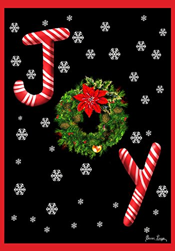Toland Home Garden Joy 28 x 40 Inch Decorative Candy Cane Christmas Holiday Snowflake Double Sided House Flag - 102513