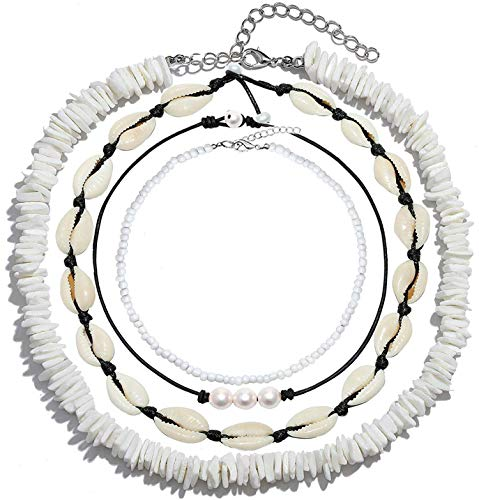 SWEET BELL 4 PCS Shell Choker Necklace Puka Chip Shell Necklace Cowrie Shell Beads Choker Necklace Handmade Hawaiian Jewelry Statement Adjustable Shell Necklace for Women ()