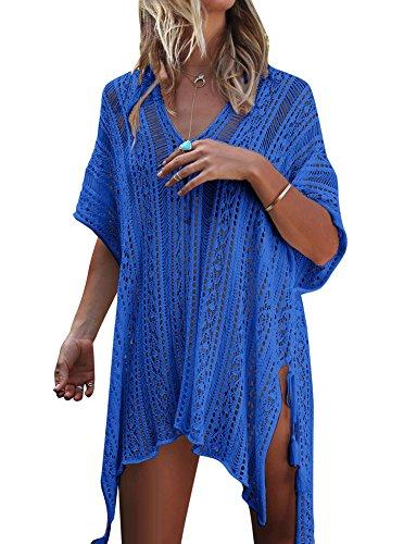 imsuit Bathing Suit Crochet Beach Bikini Swimwear Cover Up Dress Free Size Royal Blue ()