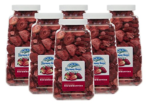 Harmony House Foods Freeze-Dried Sliced Strawberries (2 oz, Quart Size Jar) – Set of 6