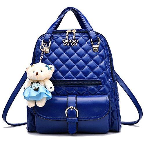 (JVP1031-P) bolso de las señoras mochila de cuero de LA PU rosa de gran capacidad bolsa de viaje de vuelta señoras 3 way bolso de hombro de la manera de moda suburbano ligero escuela Azul Marino