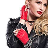 MATSU Women Sexy 4 Colors Fingerless driving Leather Gloves M504 (X-large, red)
