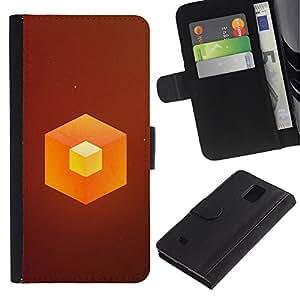 LECELL--Cuero de la tarjeta la carpeta del tirón Smartphone Slots Protección Holder For Samsung Galaxy Note 4 IV -- Naranja Cube --