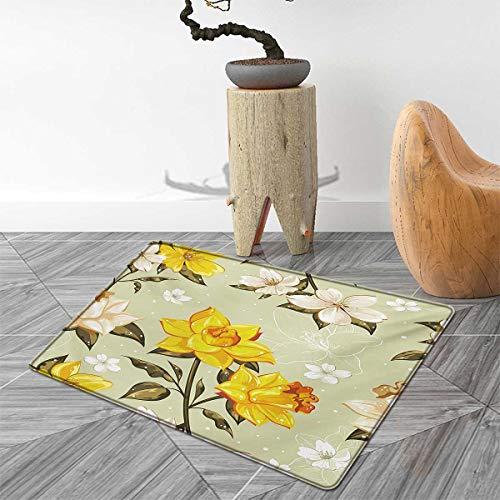 "Flower Bath Mats Carpet Classy Spring Floral Narcissus Branch Pattern with Dots and Line Artwork Floor Mat Pattern 40""x55"" Yellow Khaki Cream"
