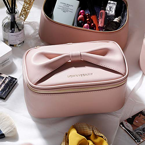 Rownyeon Makeup Bag for Women Girls Cute Portable Makeup Brushes Bag Bow-knot Cosmetic Case Toiletry Pouch Travel Kit…