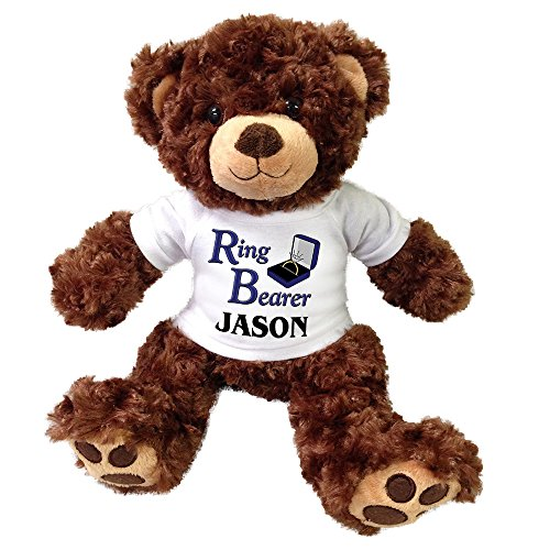 Personalized Ring Bearer Teddy Bear - 13 inch Brown Vera (Ring Bearer Bear)