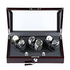 Excelvan JW-C002 6+0 Automatic Watch Winder in Black Leather Brown Wooden Box Piano Paint with 4 Rotation Modes