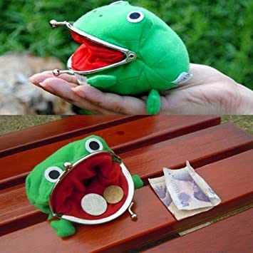 Green Frog Coin Bag Cute Purse Plush Toy Funny Naruto Cosplay Props