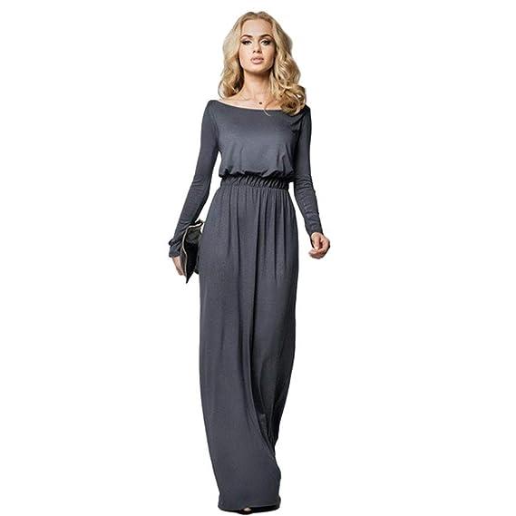 a3d7aef6ad31e4 iloits Nouvelle Mode Femmes Occasionnels Slash Cou Une Ligne de Robe ...