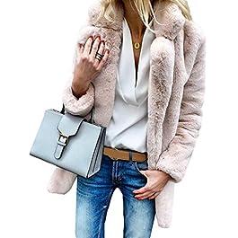 moonWANG Women's Coat Faux Fur Jacket Thicken Womens Overcoat Casual Warm Winter Coat