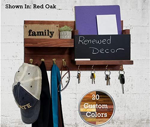 Entryway Organizer/Key Holder for Wall/Wall Shelf/Wood Wall Organizer/Wall Rack - Restyled Memo Chalkboard Farmhouse Mail Organizer with Hooks - Red Oak ()
