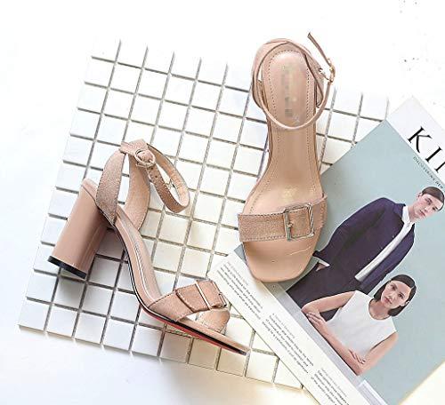 Damen Zhzz Komfort LIANGXIE Kopf Klettverschluss mit Hochzeiten für Sandalen Serie Partys mit Aprikose quadratischem Klassische fxTBwnqUa