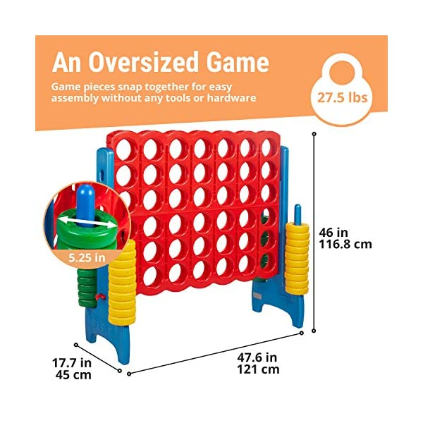 ECR4Kids-Jumbo-4-to-Score-Giant-Game-Set-Backyard-Games-for-Kids-Jumbo-Connect-All-4-Game-Set-Indoor-or-Outdoor-Game-Adult-and-Family-Fun-Game-Easy-to-Transport-4-Feet-Tall-Primary-Colors