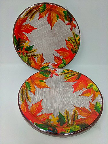 2 PACK Thanksgiving Plates 18 Count Fall Table Cover Kitchen Home Harvest Decor Autumn Fall Decoration Decorations Maple Leaves