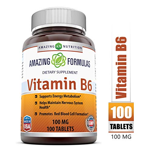 Amazing Nutrition Vitamin B6 Dietary Supplement – 100 mg, 100 Tablets – Supports Healthy Nervous System, Metabolism & Cell Health