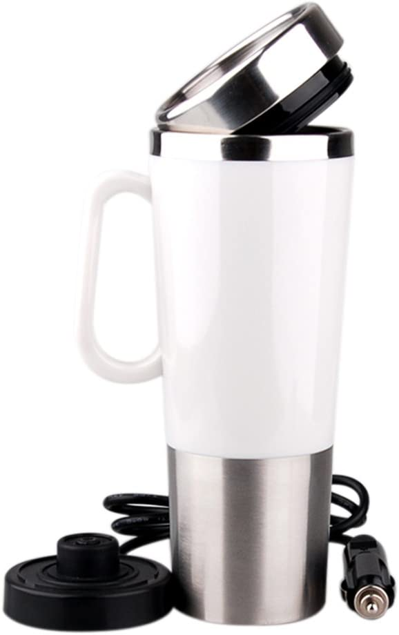 400ml Vacuum Insulated Stainless Steel Travel Mug Car Cup with charger car Boiling Mug Electric Kettle Boiling Vehicle Thermos with DC12V Heating Cup (white)