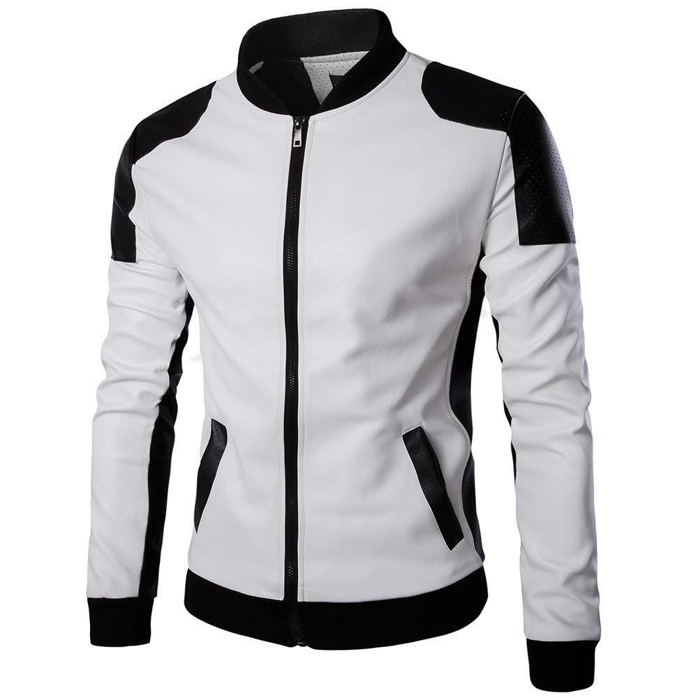 Amazon.com: 2019 😊Men Patchwork Leather Coat,Boys Autumn Winter Casual Long Sleeve Outwear (XL, Black): Electronics
