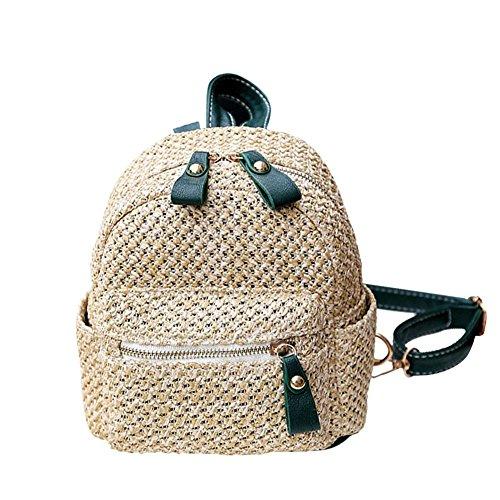 Mochila de paja con correas de cuero para mujer Mini bolso de hombro de moda tejido hueco playa bolsa de escuela, negro Verde