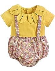 طفل الفتيات الصيف داخلية القطن الطفل الملابس الزهور الحلو قصيرة الأكمام الطفل رومبير الصيف الرضع الملابس عارضة (Color : BRS2028 YE, Kid Size : 18-24M)