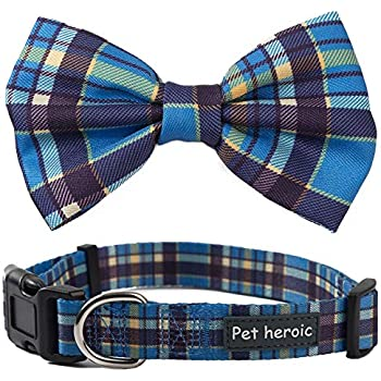 42c9f3f8942c6 Pet Heroic Pet Dog Cat Collar with Grid Bow tie, Pet Dogs Cats Grid  Adjustable Comfortable Durable Bowtie Collars for Small Medium Large Dogs  Cats in 3 ...