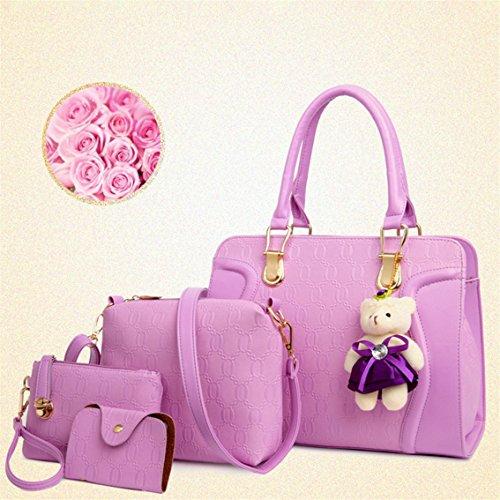 Yesiidor 4 stück Umhängetasche Damen Taschen Groß Elegant Umhänge Shopper Handtasche lila