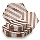 Party Disposable 36 pc Dinnerware Set | 18 Dinner Plates and 18 Side Plates | Heavyweight Paper Plates | Hexagon Design | for Upscale Wedding and Dining (Stripe Collection – White/Rose Stripe)