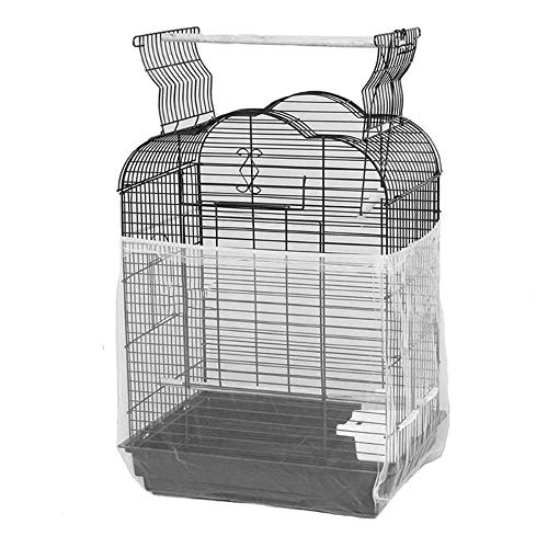 ASOCEA Universal Birdcage Cover Seed Catcher Nylon Mesh Parrot Cage Skirt- White