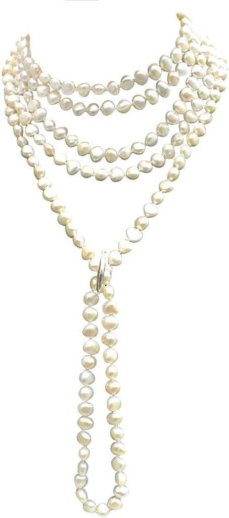 Blanco Shanghai-estilo agua dulce-perla cultivada, barroco, collar con plata esterlina acortador, presenta en un atractivo satén seda con tarjeta