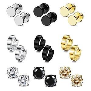 5238d4f823 Besteel 6-12 Pairs Stainless Steel CZ Stud Earrings Hoop Earrings Gauge  Earrings Set for