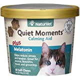NaturVet Quiet Moments Calming Aid Plus Melatonin for Cats, 60 ct Soft Chews, Made in USA