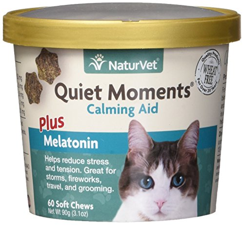 (NaturVet Quiet Moments Calming Aid Plus Melatonin for Cats, 60 ct Soft Chews, Made in the USA)