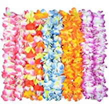TIME4DEALS 60 Pack Hawaiian Flower Lei for Luau Party, Tropical Lays Design Silk Flower Leis for Theme Party Favors Wreaths Headbands Holiday Wedding Beach Birthday (10 Counts)