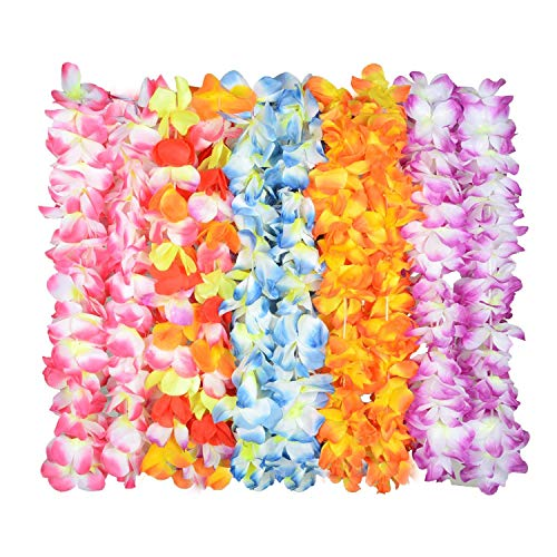 TIME4DEALS Upgraded Hawaiian Flower Lei for Luau Party[60 Flowers On Necklace], Tropical Lays Design Silk Flower Leis for Theme Party Favors Wreaths Headbands Holiday Wedding Beach Birthday