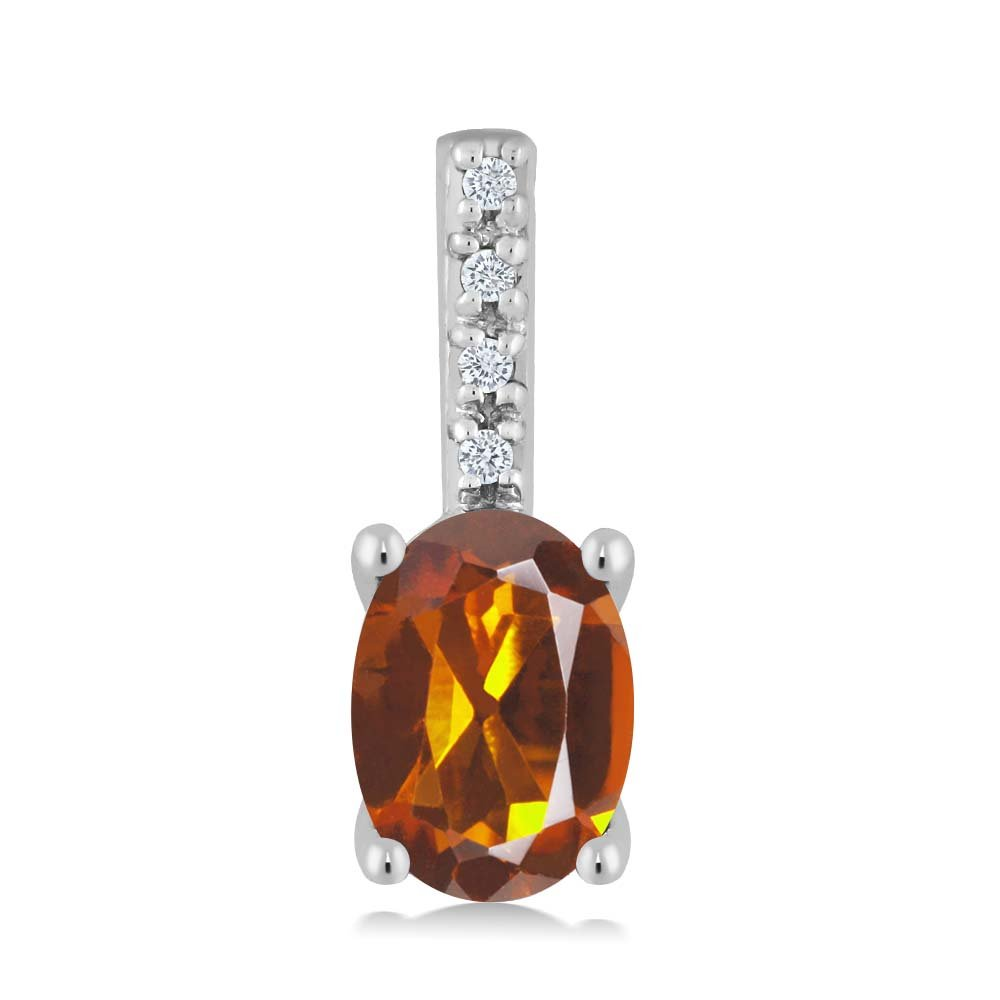 10K White Gold Oval Orange Red Madeira Citrine and Round White Diamond Pendant Necklace (7x5mm center, 0.70 cttw)