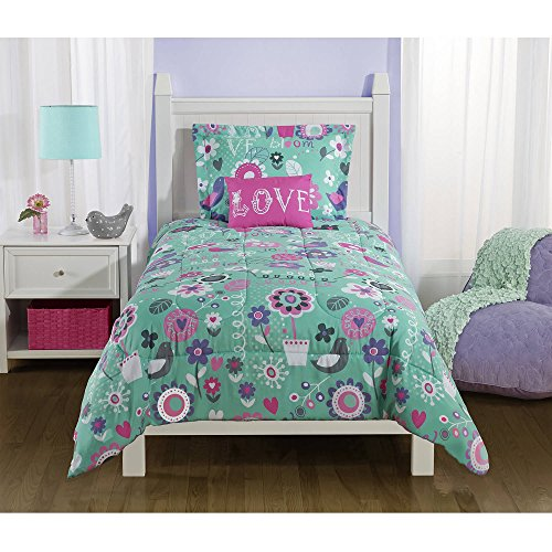 Mainstays Kids Spring Birds and Flower Reversible Bedding