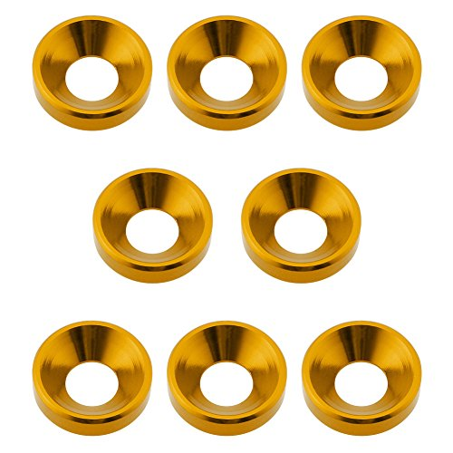 Hobbypark 8-Pack Aluminum M5 Screws Washers Countersunk Flat Head Bolts Hardware For RC Models (Gold Yellow)
