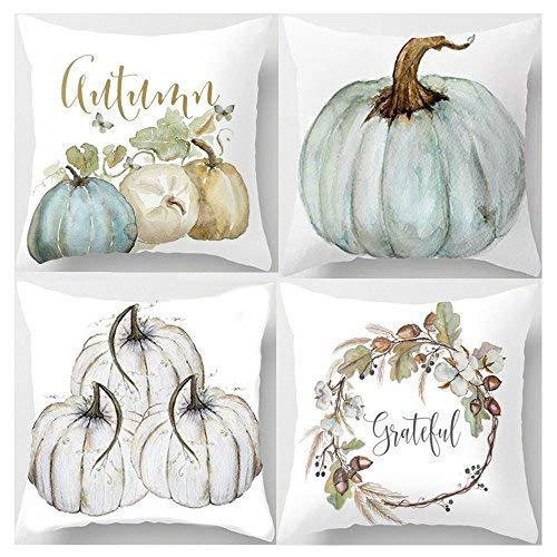 Decemter Throw Pillow Happy Fall Yall Pumpkin Thanksgiving Decoration Cotton Blend Cushion Cover Set of 4,18x18, Pack of 4