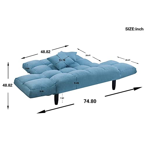 Romatlink Loveseat Bed, Adjustable Sofa,Chair Full Size Sleeper Bed a Pair of toss Pillows are Included,Classic Design Recliner Foam Seat Fill Material Sofa,Bedroom Bench for Living Room Small Spaces