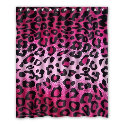 and Red Leopard Pattern Polyester 152 cm x 183 cm, Polyester Bathroom Decal. ()