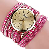 Womens Bracelet Watches Ladies Watches Female Watches Leather Watch (Hot Pink)